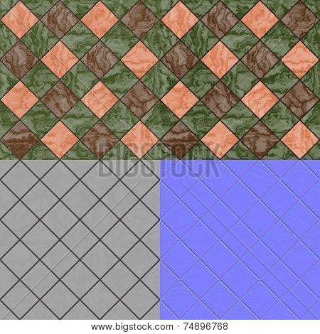 Floor Tiles Seamless Generated Texture (Diffuse, Bump, Normal)
