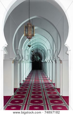 The Corridor With Pink Carpet In Koutoubia Mosque At Marrakesh, Morocco