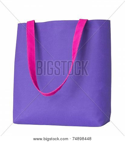 Blue Shopping Fabric Bag Isolated On White Background With Clipping Path