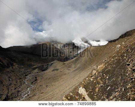 Dry Thorung-la Himalayan Pass In Monsoon