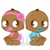 foto of twin baby girls  - Illustration of two cute African American babies - JPG