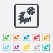 image of fireball  - Tennis fireball sign icon - JPG