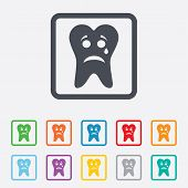 stock photo of bad teeth  - Tooth sad face with tear sign icon - JPG