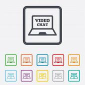 image of video chat  - Video chat laptop sign icon - JPG