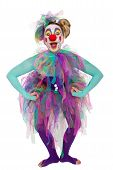 image of clown face  - A colorful clown posing and looking in to the camera - JPG