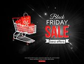 image of friday  - Black friday sale shining background with photorealistic shopping cart and place for text - JPG