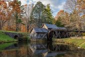 stock photo of water-mill  - Mabry Mill a restored gristmill on the Blue Ridge Parkway in Virginia  - JPG