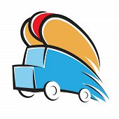 stock photo of wiener dog  - Vector illustration of a hot dog truck - JPG