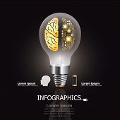 foto of circuits  - Light Bulb Brain And Electric Circuit Business And Education Infographic Design Template - JPG