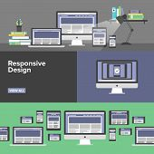 stock photo of process  - Flat banner set of responsive design web interface creative studio workflow html website coding for desktop and mobile devices webpage prototyping process - JPG