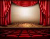 picture of comedy  - Cinema or theater scene with a curtain - JPG