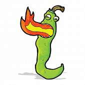 stock photo of fire-breathing  - cartoon fire breathing chili pepper - JPG