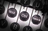 stock photo of war terror  - Typewriter with special buttons war on terror - JPG