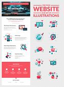 stock photo of scroll design  - All in one set for website design that includes one page website templates and set of flat design concept illustrations for banners and web content - JPG