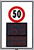 stock photo of infraction law  - Speedometer deterrent for high speed used on italians road - JPG