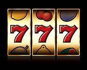 stock photo of bandit  - vector jackpot triple sevens at slot machine  - JPG