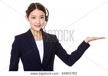 Call centre agent with open hand palm