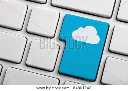 Cloud Computing Concept Showing Cloud Icon On Computer Key