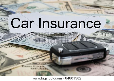 Car Insurance Text On Piece Of Paper With Key