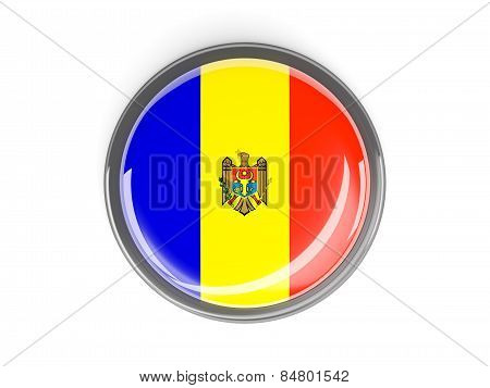 Round Button With Flag Of Moldova