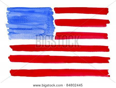 Watercolor American Flag.clipping Path