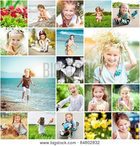 Photo collage of a cheerful girl rejoices spring field with flowers and blue sea
