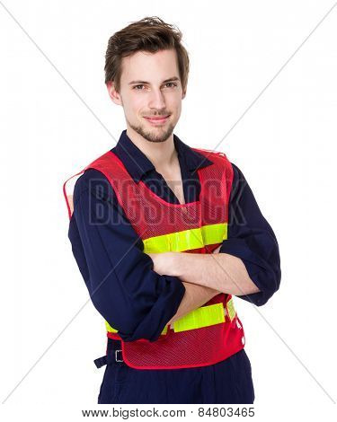 Construction worker with fluorescent vest