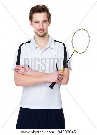 Sport man hold with badminton racket