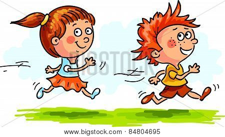 Boy and girl running quickly