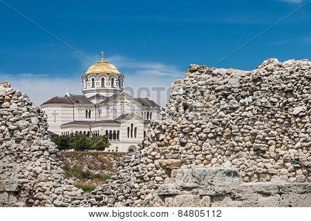 View Of Vladimir Cathedral In Tauric Chersonesos, Sevastopol City