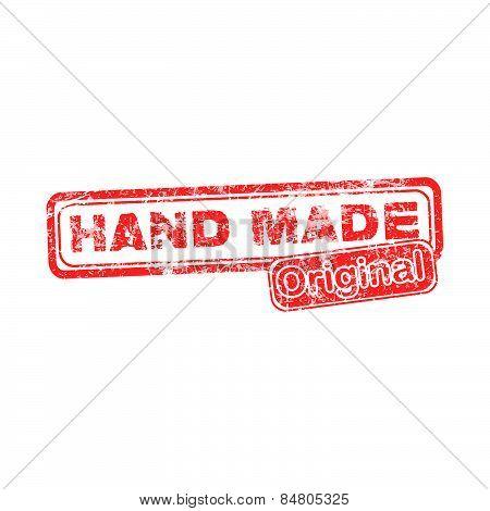 Hand Made Original Red Grunge Rubber Stamp Vector Illustration.