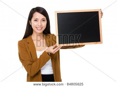 Businesswoman show with black board
