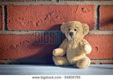 the teddy bear sit in front of a brick wall