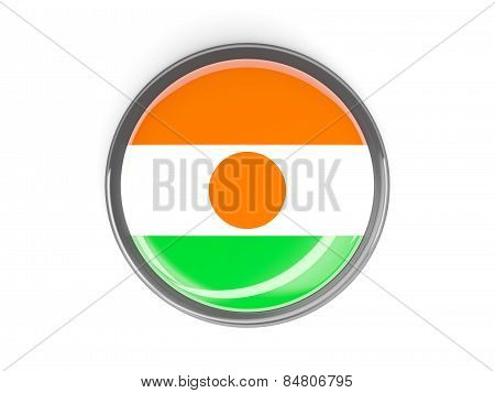 Round Button With Flag Of Niger