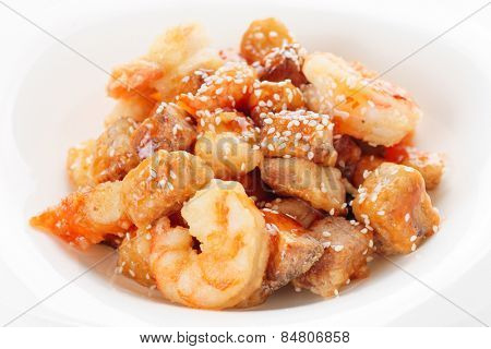 Deep fried eggplant and shrimps in sweet-sour sauce, chinese food