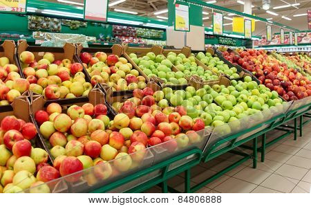 Shelf with fruits in a food store