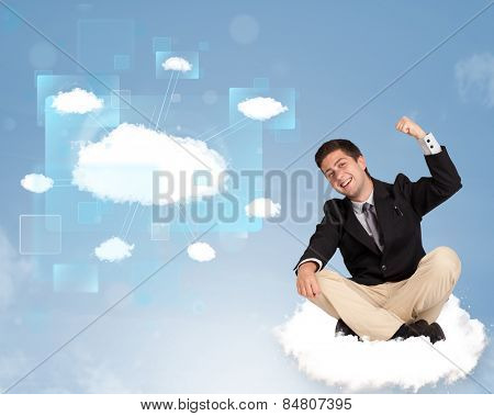Happy young man looking at modern cloud network