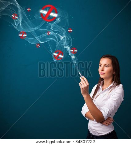 Beautiful young woman smoking dangerous cigarette with no smoking signs