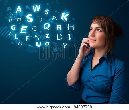 Beautiful young lady making phone call with shiny characters
