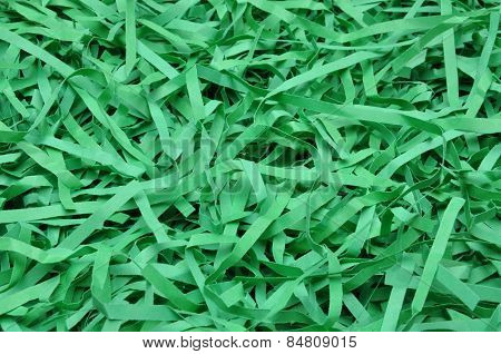Green shredded paper as backgroud