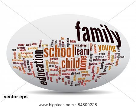 Vector conceptual 3D ellipse education abstract word cloud on white background metaphor to child family, school, life, learn, knowledge, home, study, teach, educational, achievement, childhood or teen