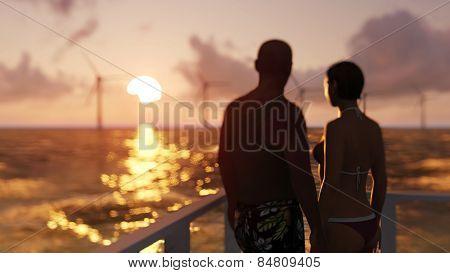 romantic couple on the beach, focus on background