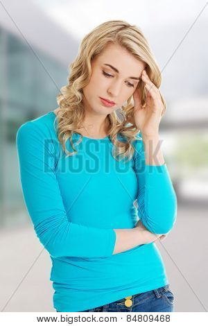 Worried woman have a big problem