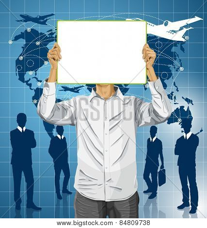 Travel concept. Vector Man with write board in his hands against his head