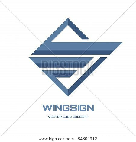 Abstract wing sign - vector logo concept illustration. Geometric abstract logo. Vector logo template