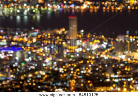 George Town Penang Malaysia At Night Blurred Background