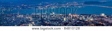 George Town Penang Malaysia Aerial View At Blue Hour