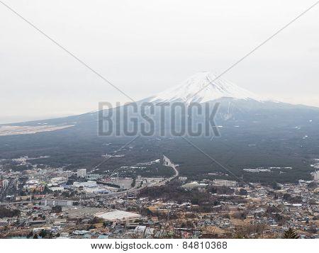 Town Near The Volcano Fuji
