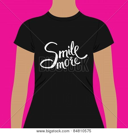 Black Woman Shirt with Conceptual Smile More Texts