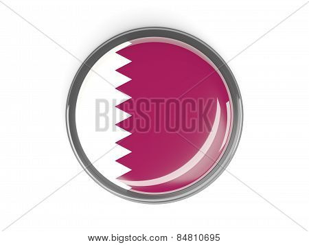 Round Button With Flag Of Qatar